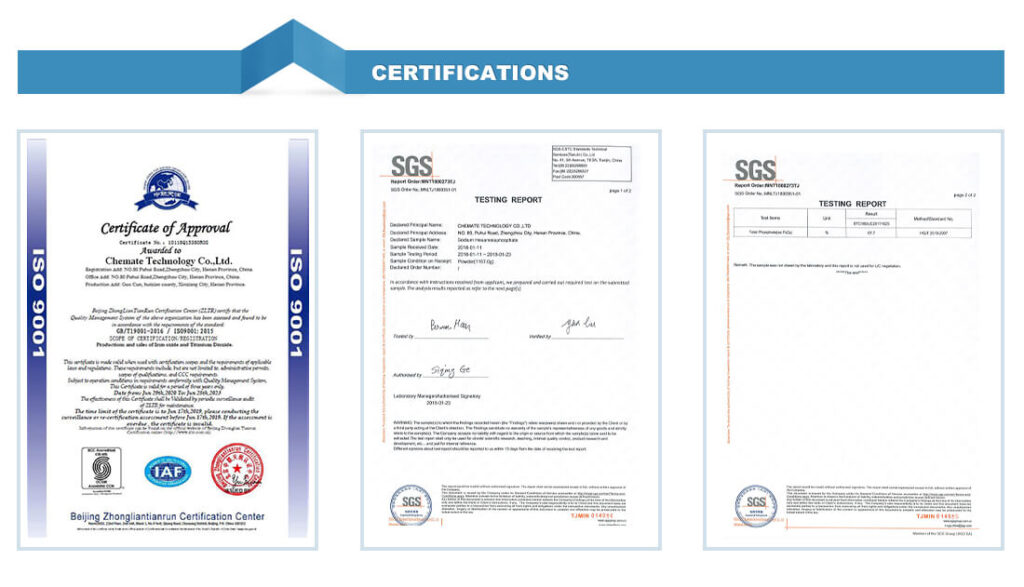 Pigments Product Certification